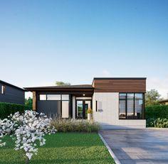 Façade - Plain-pied classe A (crédits 3D GMV3D) Bungalow House Design, Small House Design, Modern House Design, Modern House Plans, House Floor Plans, House Front, My House, Modern Ranch, Facade House