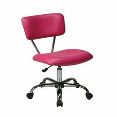 Office Star ST181-V355 Vista Office Chair by Office Star. $92.55. Fabric:Pink Vinyl Avenue Six Vista Task Chair   Vinyl padded seat and back  One touch pneumatic seat height adjustment  360 swivel  Chrome finish frame and base  Dual wheel carpet casters for mobility  Dimensions: 19.25W x 25.75Back-to-Frontx 29.5-33H   Seat: 20.5W x 17Back-to-Front  Back: 20W x 9H x 1.5Thick