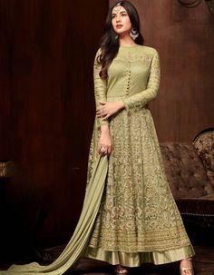 Abaya Fashion, Fashion Outfits, Fashion Hub, Indian Fashion, Ethnic Gown, Designer Salwar Suits, Designer Anarkali, Suit Fabric, Olive Green Color