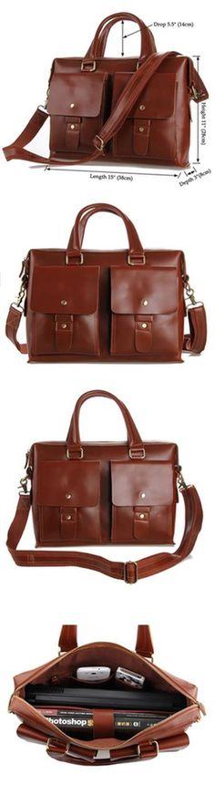 Image of GENUINE CRAZY HORSE Men Cowhide Leather Briefcase Laptop Tote Shoulder Messenger Bag P101