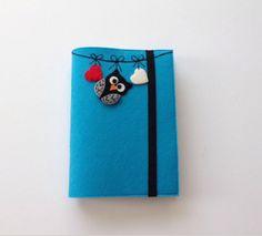 Baykuş Figürlü Mavi Kitap Kılıfı