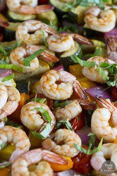 Sheet Pan Balsamic Shrimp and Summer Vegetables