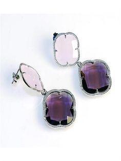 Violet vintage silver earrings
