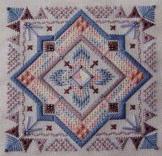 Tranquil-Sky - Amaryllis Artworks Bargello Needlepoint, Needlepoint Stitches, Needlepoint Canvases, Needlework, Blackwork, Cross Stitch Embroidery, Cross Stitch Patterns, Swedish Weaving, Drawn Thread