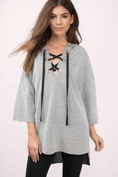 Ara Lace Up Hoodie Sweater at Tobi.com #shoptobi