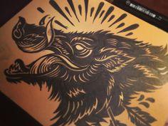 Bush Hog - Block print by Derrick Castle
