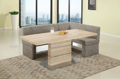 Extendable In Wood Fabric Seats Dinner Table And Nook Chaisedining Setsdining