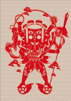 Paper Cut by Nod Young, via Behance Graphic Illustration, Graphic Art, Chinese Paper Cutting, Chinese Element, Journey To The West, Paper Cut Design, Branding, Shadow Puppets, Illustrators