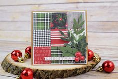 """A Week of Christmad Cards - Day 5: Quilted Christmas Card by Becki Adams with the """"Christmas Delivery"""" collection by #CartaBellaPaper"""