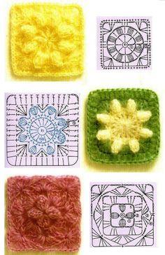 Duduá: Trobada textil intergeneracional a Casa Sagnier Point Granny Au Crochet, Granny Square Crochet Pattern, Crochet Blocks, Crochet Diagram, Crochet Chart, Crochet Squares, Crochet Diy, Crochet Motifs, Love Crochet