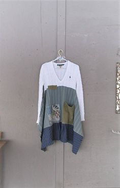 upcycled sweater tunic dress wearable art patchwork clothing