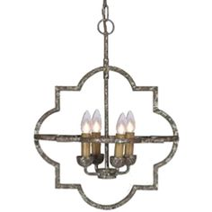 Combining a classic shape with an antique silver finish, the Atlas chandelier offers an innovative take on a popular neo-gothic motif.  • Materials: Iron • Finish: Antique Textured Silver
