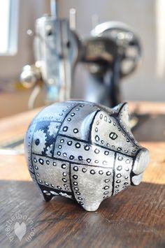 #steampunk #piggybank  Steampunk Sparschwein