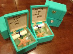Bridesmaids boxes for our cruise ship destination wedding! :)
