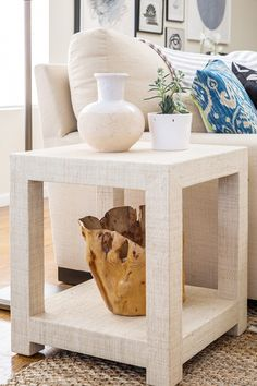 Raffia covered side table