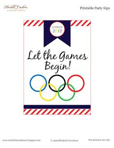 {Free Printables} and {Mirabelle Creations Party} -- Summer Olympics Party - Mirabelle Creations