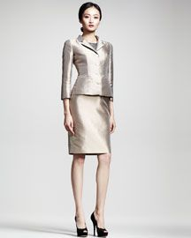 -43KK Dolce & Gabbana Silk Mikado Jacket & Lace/Mikado Sheath Dress