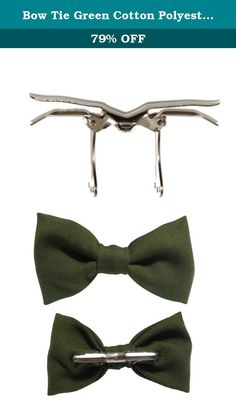 Bow Tie Green Cotton Polyester Various Sizes. This meticulously handcrafted bow tie is made of cotton and polyester. It has a metal clip on and is pre-tied. Ties are great for every day wear. Handcrafted in the USA. Equipped with a solid metal clip that you just open and put on collar and close. Easy on and off for a comfortable and perfect fit every time. Bow tie is available in three sizes, please select the size you want. To clean, gently rub with a damp cloth or hand wash, as needed…