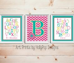 Girls Nursery Wall DecorPink Teal Floral Art by HollyPopDesigns, $33.00