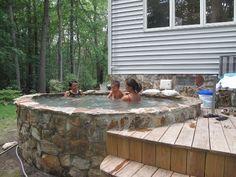landscape stone sauna design hot tub