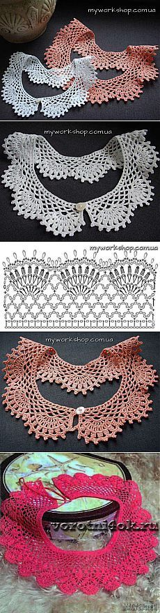 "Crochet Lace Collar ~ Воротнcrochetички ö крючком. [ ""Crochet Lace Collar ~ possibly for katie dress or top?"", ""Find and save knitting and crochet schemas, simple recipes, and other ideas collected with love. Col Crochet, Crochet Lace Collar, Crochet Diagram, Crochet Chart, Thread Crochet, Crochet Scarves, Crochet Motif, Irish Crochet, Crochet Designs"