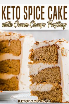 All the flavors of Fall infused into one moist and tender low carb cake. This spice cake is phenomenal when topped with creamy keto cream cheese frosting. This spice cake recipe uses flavors from cinnamon, cardamom, allspice, cloves and nutmeg. All of these necessary spices are what gives this cake that delicious aroma and taste. | KetoFocus @ketofocus #ketocakerecipes #ketobaking #ketodessert #sugarfreecakerecipes #lowcarbcakerecipes #ketospicecake #ketofallrecipes #ketothanksgving… Spice Cake Recipes, Baking Recipes, Dessert Recipes, Keto Recipes, Pumpkin Recipes, Breakfast Recipes, Low Carb Ice Cream, Keto Cream, Low Carb Sweets