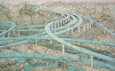 Many Rivers, 2009  Inlaid maps, acrylic, on panel  48 x 78 inches