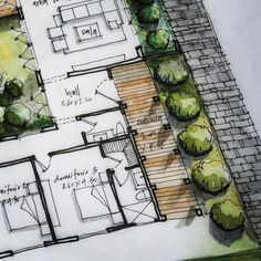 Sketch detail of handmade plant … - Architecture Ideas Sketchbook Architecture, Texture Architecture, Landscape Architecture Design, Landscape Plans, Architecture Plan, Nice Landscape, Architecture Models, Classical Architecture, Interior Design Sketches