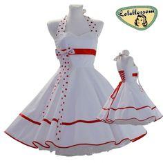 Wedding petticoat dress white red Hochzeit Petticoat Kleid weiß rot