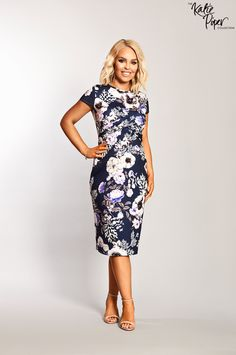 57407c163e86c Katie Piper Maternity Cap Sleeve Twist Front Detailed Floral Midi Dress -  Want That Trend