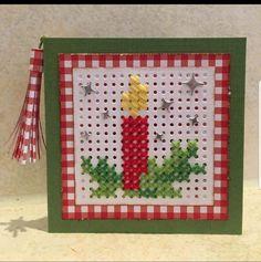 I like this perfect photo Cross Stitch Christmas Cards, Christmas Card Crafts, Cross Stitch Cards, Christmas Cross, Christmas Candle, Celtic Cross Stitch, Tiny Cross Stitch, Cross Stitch Designs, Cross Stitch Patterns
