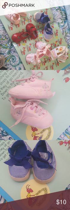 Bundle 0 new born Baby Girl Shoes 5 pair Disney Imagine pink tie shoes Carter's Blue stripe  No Brand Pink ruffle lace Carter's White zig zag embroidered No Brand Red Patent Leather Carter's Shoes Baby & Walker