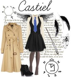 """Female Castiel"" by castielpetrova ❤ liked on Polyvore"