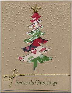 Stampin' Up! Christmas Cards - Santa's Sleigh Thinlits Dies, Softly Falling Embossing Folder and Warmth & Cheer Designers Series Paper Stack
