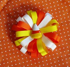Candy Corn Halloween Loopy Hair Bow