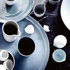 Tabletop dinnerware #blues #summer via // Mud Australia