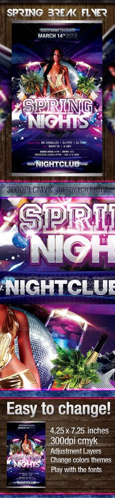 Buy Spring Night Party Flyer by wowdg on GraphicRiver. Hope you enjoy this Spring Break Night Party template flyer! Help file included MODEL IS NOT INCLUDED Psd file all la. Event Flyer Templates, Club Parties, Party Flyer, Print Templates, Color Themes, Spring Break, Night Club, Flyer Design, Color Change