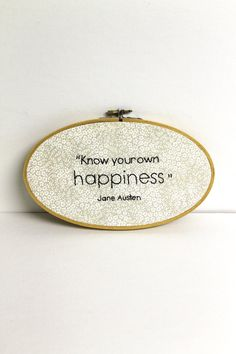 Embroidered Hoop Art Jane Austen Quote Oval Vintage Wooden Hoop Wall Hanging Black Text. $59.00, via Etsy.
