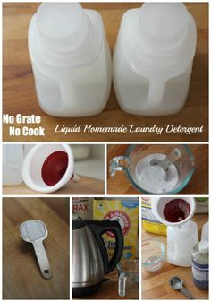 NO GRATE NO COOK Homemade Liquid Laundry Detergent.  3 ingredients. Measure, pour, shake, done. #cleaning