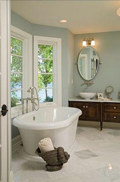 Bathroom. Beautiful Bathroom Design. #BathroomDesign #Bathroom Paint Color: Benjamin Moore Slate Blue 1648