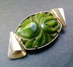 Antique Art Deco Carved BAKELITE Spinach Green Flower Swirl Brooch Pin WOW J45