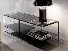Hoch- rechteckiger Couchtisch aus Marmor Serie Calder by Minotti
