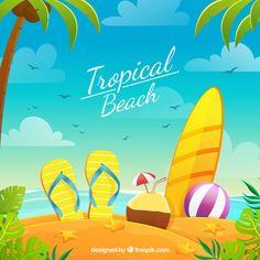 Praia tropical paradisíaca com design plano Aloha Beaches, Tropical Beaches, Memory Games For Kids, Art For Kids, Design Plano, Free Printable Flash Cards, Beach Design, Tropical Design, Seascape Art