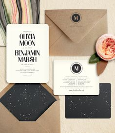 "Modern Kraft, Black, Starry Night and Marbled Paper Wedding Invitations: ""Moonshine"" by Oak & Orchid my favorite!"
