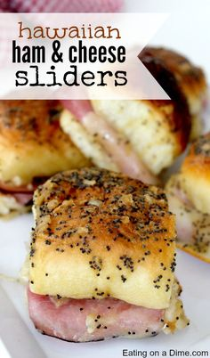These Hawaiian ham and cheese sliders recipe are easy to make. They are the best Ham and cheese sliders! You'll love these Kings Hawaiian Ham and Cheese Sliders with brown sugar! These are perfect to make ahead to serve at any party or get together! Ham Cheese Sliders, Ham And Swiss Sliders, Ham And Cheese Sliders Hawaiian, Hawaiian Sandwiches, Cheese Burger, Funeral Sandwiches, Cheese Food, Easy Cheese, Cheese Party