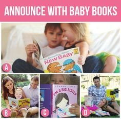 "Pregnancy Announcement Idea - First Sibling holding a book about ""New Baby"" or ""Big Brother/Sister"""