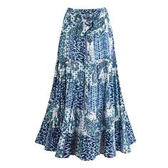 Womens Peasant Skirt  China Blue Tiered Cotton Skirt  1X -- Click image for more details.(This is an Amazon affiliate link and I receive a commission for the sales)