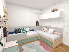 Kids Bedroom Furniture, Bedroom Decor, L Shaped Beds, Sibling Room, Kids Bed Design, Kids Room Bed, House Architecture Styles, Bunk Bed Designs, Baby Boy Rooms