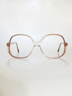 Vintage 1970s Eyeglasses Oversized Sunglasses Rose Brown Light Transparent Clear Indie Hipster Sunnies Retro 70s Womens Ladies Oversize
