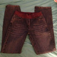 """Awesome Kenneth Cole New York jeans' These jeans are gorgeous! Two pretty deep front pockets, seams down the front of the legs, no back pockets. 100% suede waist line with belt closure. Inseam 32.5""""  waist 14.5"""" hip 18"""" Kenneth Cole Jeans Boot Cut"""
